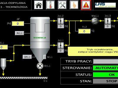 System sterowania instalacją odpylania spalin kotła